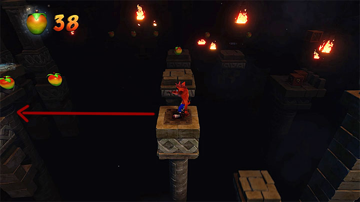 Jump onto ledges and platforms on the left - Jaws of Darkness | Cortex Island | Levels - Crash Bandicoot - Cortex Island - Crash Bandicoot N. Sane Trilogy Game Guide