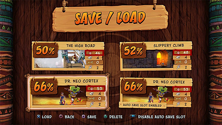 The current number of lives can be checked by pressing the inventory button (Triangle - picture 1) or by selecting the load and save menu (picture 2) - On Cloud 99 | Crash Bandicoot Trophy Guide - Crash Bandicoot - Crash Bandicoot N. Sane Trilogy Game Guide