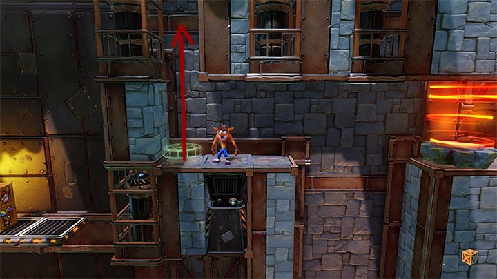 Right after starting this level you stand next to a place, presented in the picture, where you can place a Green Gem - Castle Machinery | Cortex Island | Levels - Crash Bandicoot - Cortex Island - Crash Bandicoot N. Sane Trilogy Game Guide