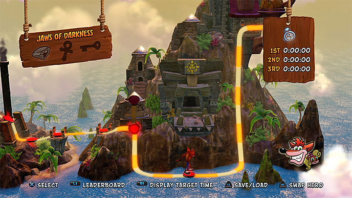 Jaws of Darkness is one of levels available in Cortex Island (the picture above) - Cortexs Terrifying Trial | Crash Bandicoot | Levels - Crash Bandicoot - Crash Bandicoot N. Sane Trilogy Game Guide