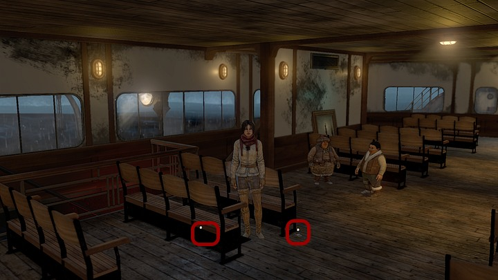 On the way - when crossing the quarterdeck - pick up the handmade matches, lying near the first chair (the row on the left, near the Youkols) - Get rid of the monster | Chapter four | Walkthrough - Chapter four - Syberia 3 Game Guide