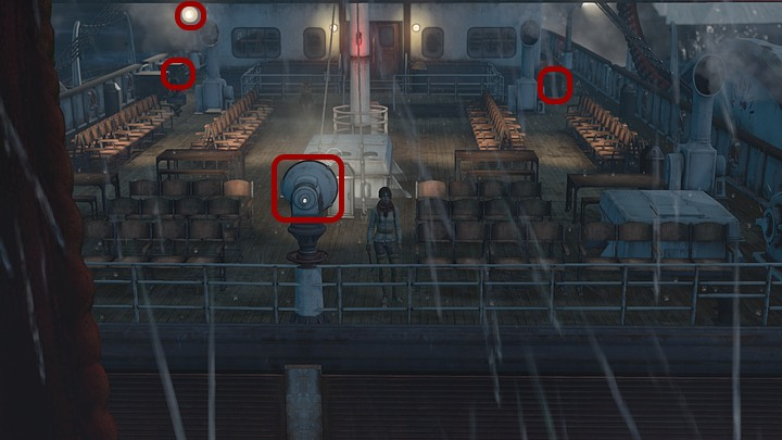 Head for the port - the right side of the ship - theres a nice solid rod on a chest right beside the quarterdeck - Get rid of the monster | Chapter four | Walkthrough - Chapter four - Syberia 3 Game Guide