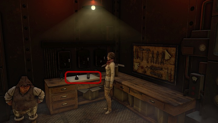 Take a closer look at the things on the desk - zoom in and pick up the lamp on the right, Kate will combine it with the stand on the left - Get rid of the monster | Chapter four | Walkthrough - Chapter four - Syberia 3 Game Guide