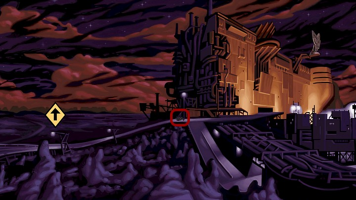 Start the bike (it is standing to the left of the building) and go to the vicinity of the Vulture hideout (the yellow arrow facing upwards on the left side) - Get to the hideout of the Vultures | Chapter Three Walkthrough - Chapter Three | Full Throttle Remastered Walkthrough - Full Throttle Remastered Game Guide