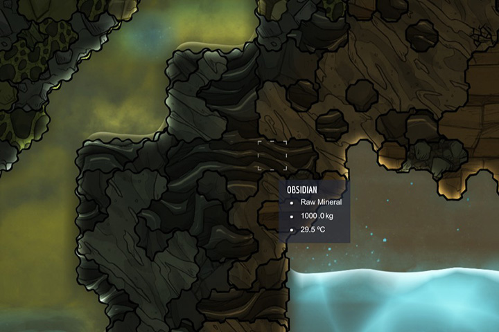 Obsidian - Minerals, rocks and metals | Resources - Resources - Oxygen Not Included Game Guide