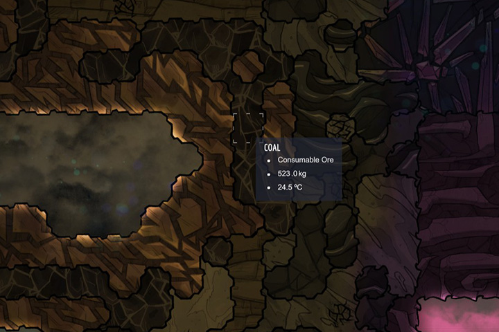 Coal - Minerals, rocks and metals | Resources - Resources - Oxygen Not Included Game Guide