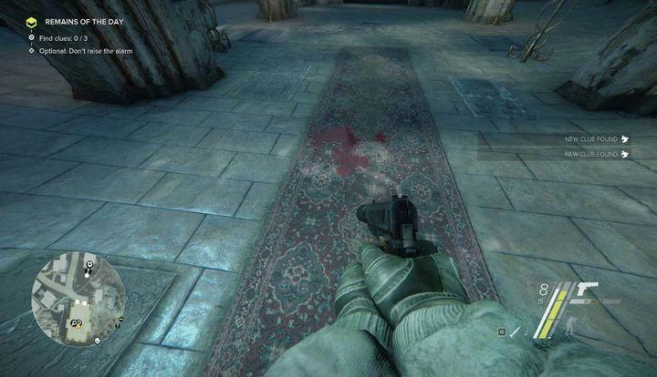 There are three clues in the church: a bloodstain in the middle, a bullet mark in the floor, on the left, and a hole in the wall (above the door that you used to get inside) - Remains of the Day | Act 2 | Walkthrough - Act 2 - Sniper: Ghost Warrior 3 Game Guide