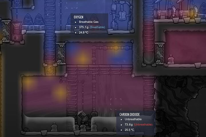 Lighter gases move upwards, and heavier ones stick to the ground. - Several important tips - The Beginning - Oxygen Not Included Game Guide