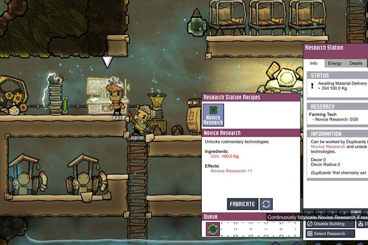 To gain novice research you simply need dirt, which you have an abundance of. - How to start? - The Beginning - Oxygen Not Included Game Guide