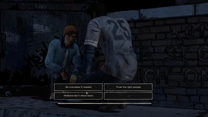 You and Gabe are sneaking to a weapons storage - Chapter 3 - Prayers for the Dead   Episode 4 - Episode 4: Thicker than Water - The Walking Dead: The Telltale Series - A New Frontier Game Guide