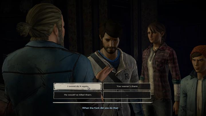 The intense moment results in a confession - Gabe will shout out that it was Javier who killed Conrad - Chapter 5 - Smoke and Fire | Episode 4 - Episode 4: Thicker than Water - The Walking Dead: The Telltale Series - A New Frontier Game Guide