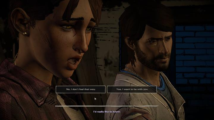 Finally, the woman will profess her feelings, leaving you with a third major choice found in this episode - Chapter 6 - The Price of Justice | Episode 4 - Episode 4: Thicker than Water - The Walking Dead: The Telltale Series - A New Frontier Game Guide
