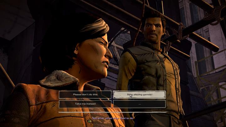Youve finally reached the square - Joan is leading the crowd before a public execution of David, who will be soon joined by Tripp and Ava - Chapter 6 - The Price of Justice | Episode 4 - Episode 4: Thicker than Water - The Walking Dead: The Telltale Series - A New Frontier Game Guide