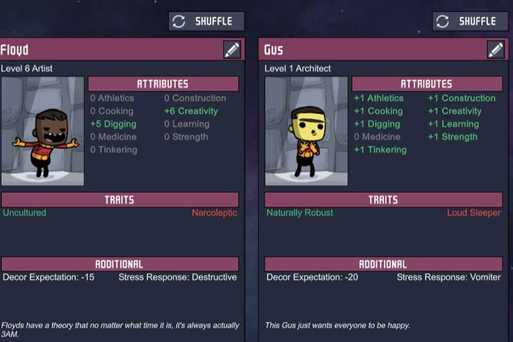 Duplicate Floyd (on the right) is a great miner and painter, while Gus is a jack of all trades, but a master of none. - Attributes and Assigning Jobs - Duplicants - Oxygen Not Included Game Guide