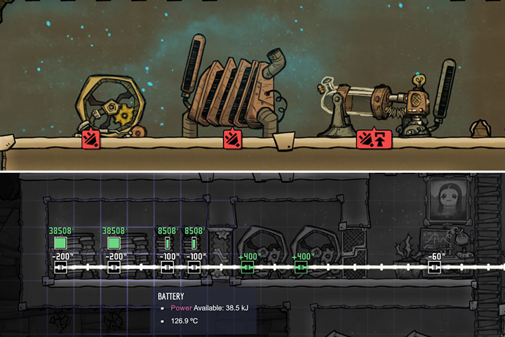 Electricity will quickly become an extremely important resource in the game, almost equal in rank to oxygen and food - Power - Description of objects and structures - Oxygen Not Included Game Guide