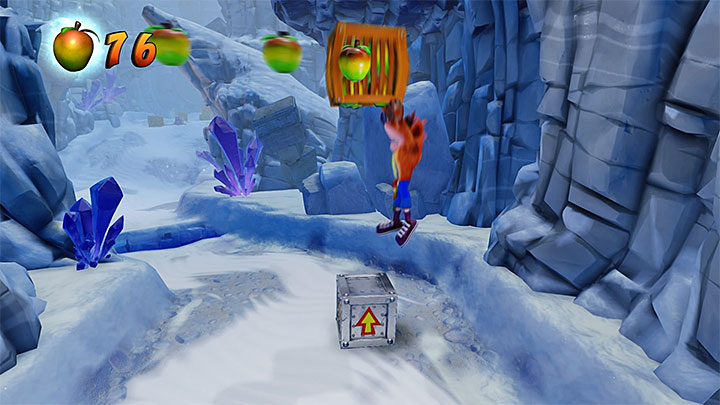 Start skating through the ice and make a jump when close to the chasm - Snow Go | Crash Bandicoot 2 | Levels - Crash Bandicoot 2 - Jungle Warp Room - Crash Bandicoot N. Sane Trilogy Game Guide