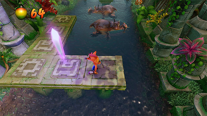 Regardless of whether youve visited the secret area or not, continue moving up the river - Hang Eight | Crash Bandicoot 2 | Levels - Crash Bandicoot 2 - Jungle Warp Room - Crash Bandicoot N. Sane Trilogy Game Guide
