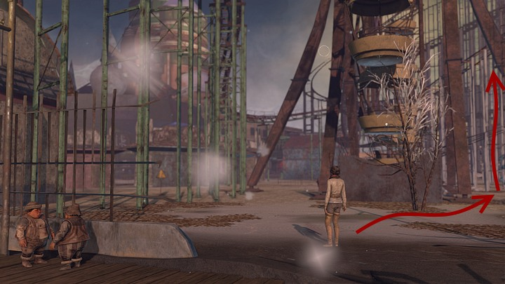 When they attatch the rope to the ferris wheel, go towards it - go through the gap in the fence (to the right from Oscar) and go further inside, so that you end up on the right side of the ferris wheel - Find a way to tug Krystal and release the ostriches | Chapter five | Walkthrough - Chapter five - Syberia 3 Game Guide