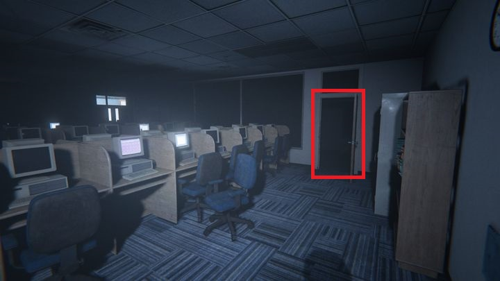 Interacting with the second computer has produced a strange outcome - some of the monitors had begun to flicker - Computer Lab | Judges | Walkthrough - Judges - Outlast 2 Game Guide