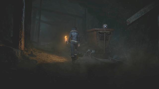 Release the break to use the wagon to shatter the door and make the new passage - Episode 7 | Walkthrough - Walkthrough - Until Dawn Game Guide & Walkthrough