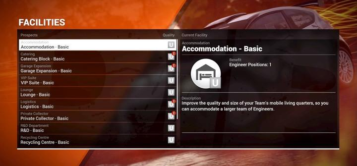 Each building can be upgraded to level 5 - Facilities | Your Team - Your Team - DiRT 4 Game Guide