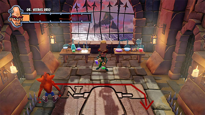 As for the purple potions, you must simply avoid them in the air and avoid the areas where they land and explode - Dr. Nitrus Brio | Boss Fights in Crash Bandicoot - Crash Bandicoot - Crash Bandicoot N. Sane Trilogy Game Guide