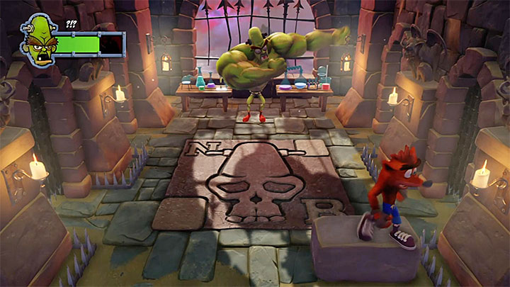 Jump on the stone brick and let the boss get close - Dr. Nitrus Brio | Boss Fights in Crash Bandicoot - Crash Bandicoot - Crash Bandicoot N. Sane Trilogy Game Guide