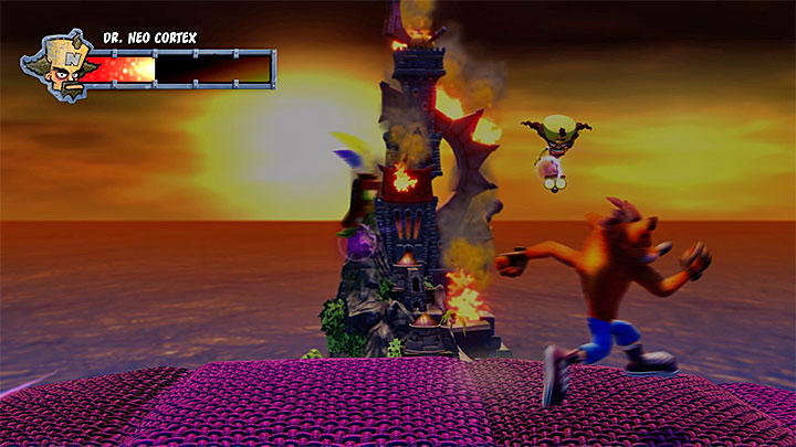 Run to the right and be ready to quickly turn around and jump left - Dr. Neo Cortex (final boss) | Boss Fights in Crash Bandicoot - Crash Bandicoot - Crash Bandicoot N. Sane Trilogy Game Guide