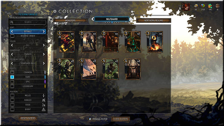 Rare cards can be recognized by the blue square - Card Rarity | Card Types - Card Types - Gwent: The Witcher Card Game Guide