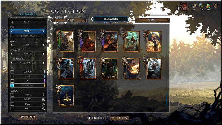 Legendary cards are marked with a golden square and a golden border - Card Rarity | Card Types - Card Types - Gwent: The Witcher Card Game Guide