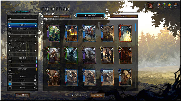 Siege units are deployed to the third row in the rear of the army and can be recognized by the catapult icon - Positions of Cards | Card Types - Card Types - Gwent: The Witcher Card Game Guide