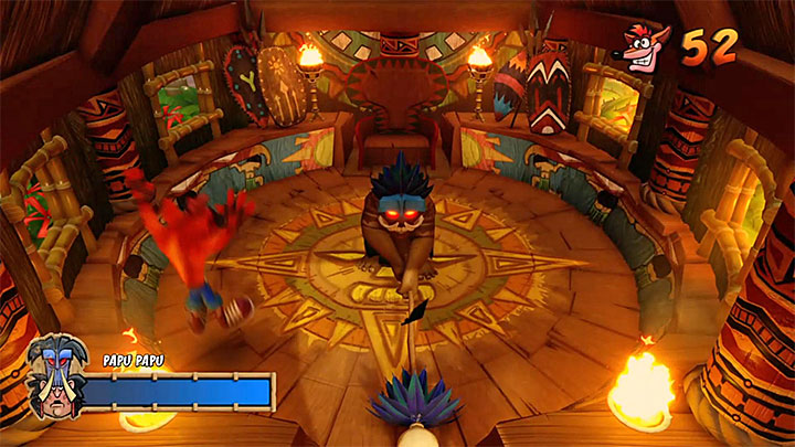 Run or jump away from the place where Papu Papu intends to hit the ground - Papu Papu | Boss Fights in Crash Bandicoot - Crash Bandicoot - Crash Bandicoot N. Sane Trilogy Game Guide