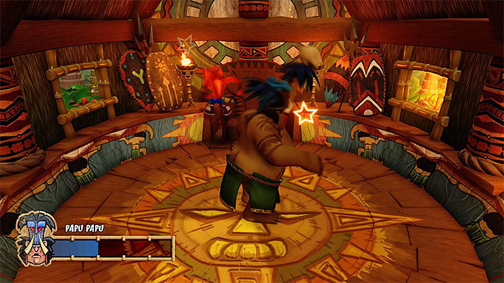 Jumping on the head of the boss will stun him and take away one of his health points - Papu Papu | Boss Fights in Crash Bandicoot - Crash Bandicoot - Crash Bandicoot N. Sane Trilogy Game Guide