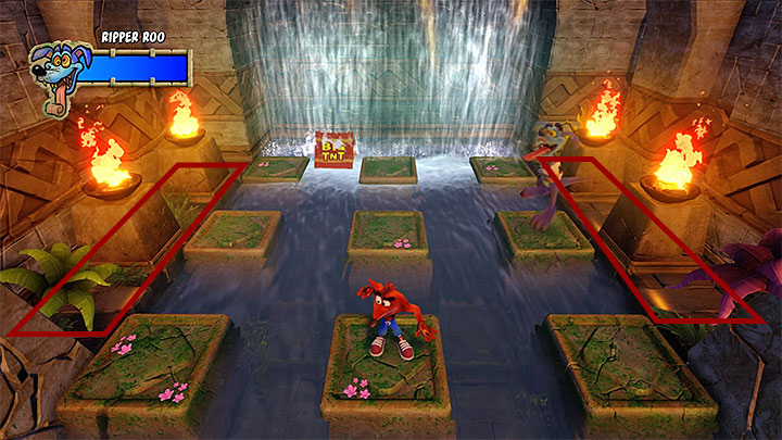 This fight takes place on nine green platforms surrounded by water - this means you must perform very precise jumps, so that you dont jump into the water and die - Ripper Roo | Boss Fights in Crash Bandicoot - Crash Bandicoot - Crash Bandicoot N. Sane Trilogy Game Guide