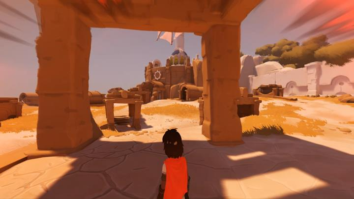 As soon as you notice the screen going red, take cover under the stone. - Meeting the beast and the first mill | Chapter 2 - Walkthrough - Chapter 2 - Rime Game Guide
