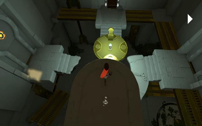 Jump to the golden platform and pick up the sphere - A new companion | Chapter 3 - Walkthrough - Chapter 3 - Rime Game Guide