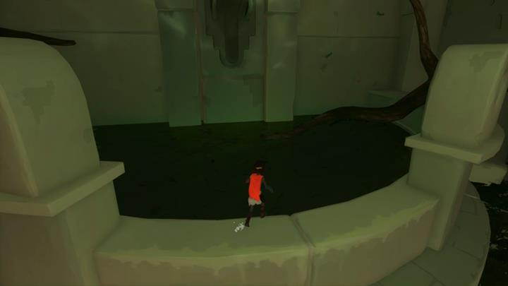 Dive into the pond to begin an underwater sequence - Crossing the underground river | Chapter 3 - Walkthrough - Chapter 3 - Rime Game Guide