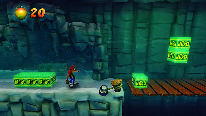 In one of the next locations, jump carefully over the two green crates - Snow Biz | Crash Bandicoot 2 | Levels - Crash Bandicoot 2 - Ice Warp Room - Crash Bandicoot N. Sane Trilogy Game Guide