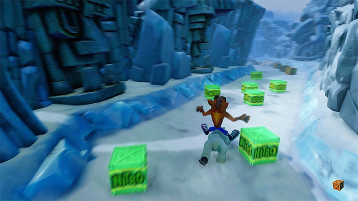 Right after you have unlocked the second checkpoint, you will get into an area with two ticking TNT crates on the sides - Bear It | Crash Bandicoot 2 | Levels - Crash Bandicoot 2 - Ice Warp Room - Crash Bandicoot N. Sane Trilogy Game Guide