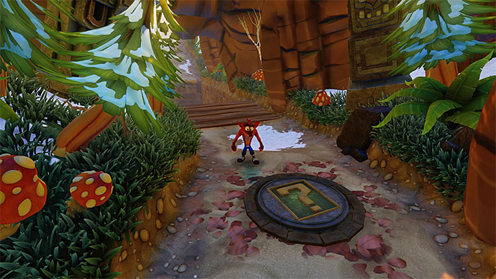 Right after the second escape, you will reach a clearly visible plate with the question mark (the above screenshot) - Crash Crush | Crash Bandicoot 2 | Levels - Crash Bandicoot 2 - Ice Warp Room - Crash Bandicoot N. Sane Trilogy Game Guide