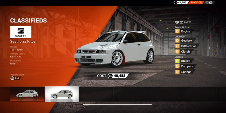 Seat Ibiza Kitcar is a good choice in the next class (available via classifieds) - Whats the best way to begin the career mode? | TIPS - Tips - DiRT 4 Game Guide