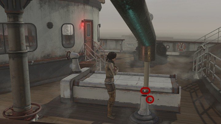 On the right from the exit, near the now closed hold, you can find the end of the green narrow pipe - Fill the water tanks on the Krystal | Chapter three | Walkthrough - Chapter three - Syberia 3 Game Guide