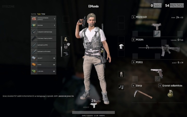 You can open the inventory by pressing I or TAB - Inventory management in Battlegrounds Controls - Game Guide - Playerunknowns Battlegrounds Game Guide