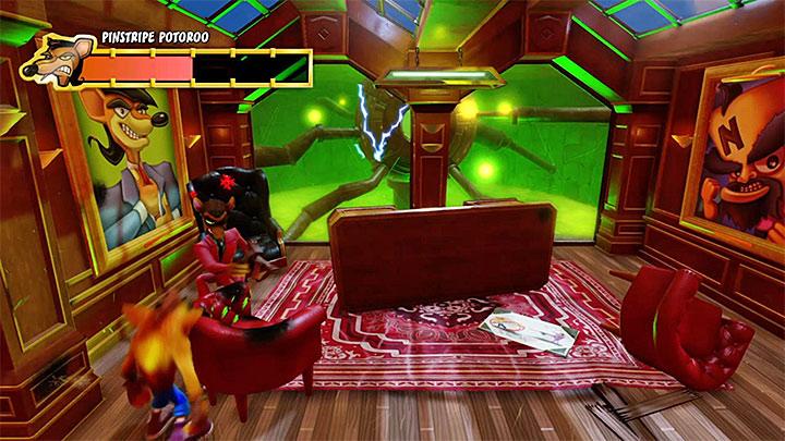 Later in the fight Pinstripe Potoroo will stop running across the level, but weakening him will become even simpler - Pinstripe Patooey | Crash Bandicoot Trophy Guide - Crash Bandicoot - Crash Bandicoot N. Sane Trilogy Game Guide