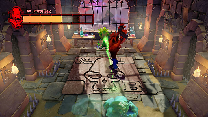 Jumping on the blob will send a green projectile towards the boss - Nitrus Broken | Crash Bandicoot Trophy Guide - Crash Bandicoot - Crash Bandicoot N. Sane Trilogy Game Guide