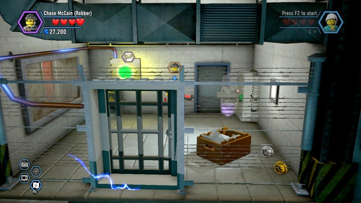You will have to carry the box outside of the electrified grate - disable the security system first - Stealing from Blackwell | Chapter 11 | Walkthrough - Chapter 11 - LEGO City: Undercover Game Guide