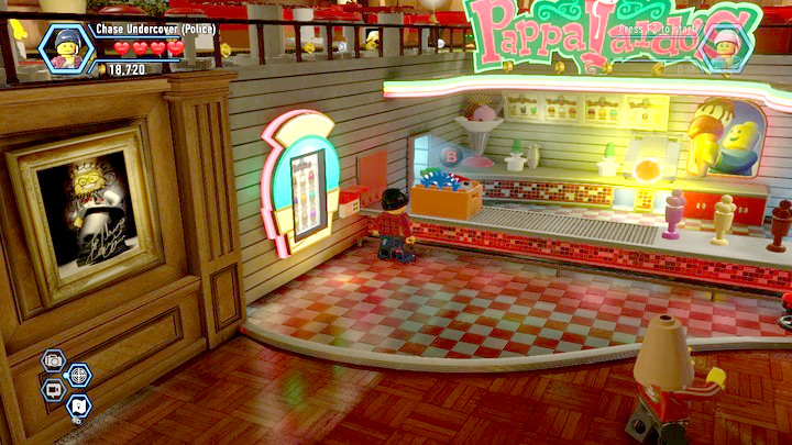 You can collect the second box from the counter, after you have summoned it with the terminal that you have built - Ice-cream shop | Chapter 11 | Walkthrough - Chapter 11 - LEGO City: Undercover Game Guide