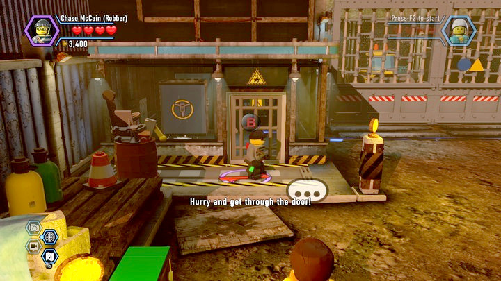 Take the construction site workers disguise from the shed - Construction site | Chapter 12 | Walkthrough - Chapter 12 - LEGO City: Undercover Game Guide